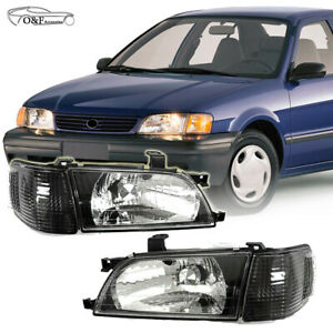 Toyota Yaris Sedan Headlights Black Housing Headlamps Fits Years 2007 To 2012
