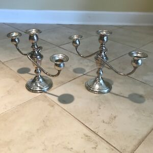 Pair Of Preisner Sterling Silver Three Light Candelabra Candle Holders