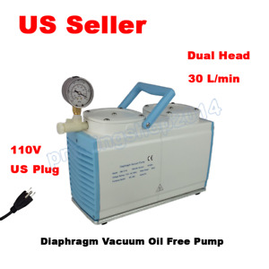 110v Lab Oil Free Diaphragm Vacuum Pump Dual Head 30 L min Gm 0 50b