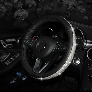 Crystal Auto Car Steering Wheel Cover 38cm For Girls Ladies Rhinestone Leather