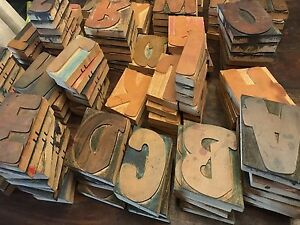 Full Set Of Vintage Wood Block Letters From The 70s For Silk Screening good Cond