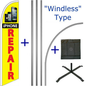Iphone Repair Windless Feather Flag Pole Cross Stand Mount Kit Tall Banner