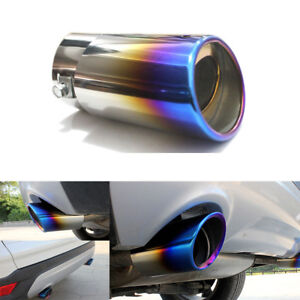Burnt Blue Car Exhaust Muffler Tips Chrome Stainless Steel Tail Pipe Universal