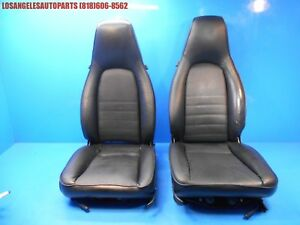 Porsche 911 964 944 951 Turbo 968 Front Power Perpetrated Leather Seats Pair Blk
