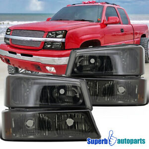Smoke 2003 2006 Chevy Silverado Headlights Signal Bumper Lights Lamps 4pc