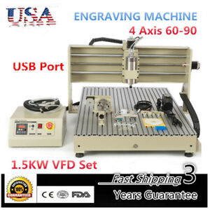 6090 4 Axis Usb Cnc Router Engraver 1500w Vfd spindle Engraving Milling Desktop