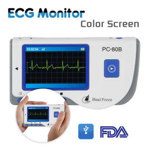 Heal Force Lcd Portable Handheld Ecg Ekg Heart Monitor Sensor W Cable Electrode