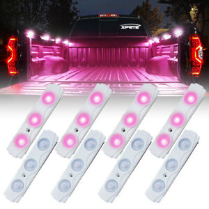 Xprite 8pcs Led Rock Light Pod Strip Offroad Truck Bed Lighting W Switch Pink