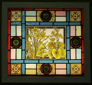Old English Leaded Stained Glass Window Victorian Hp Floral 21 75 X 20