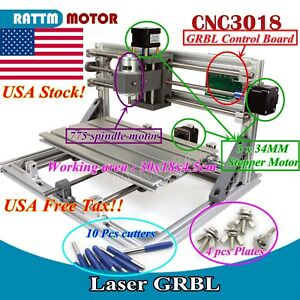 us Stock 3 Axis Usb 3018 Grbl Control Mini Diy Cnc Router Milling Laser Machine