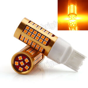 4pcs 12v Amber Error Free 7440 78smd 3030 Led Bulbs Car Backup Reverse Lights