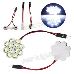50pcs Car Festoon T10 Ba9s 8000k White Led 12smd Panel Interior Dome Map Light