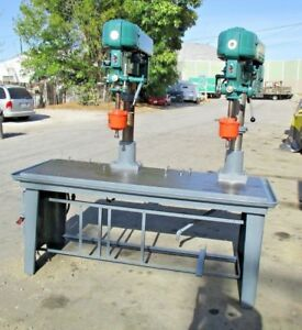 Heavy Duty Dual Head Rockwell Drill Press With Production Table Tapping Heads