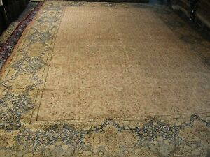 Semi Antique Hand Knotted Wool Persian Lavar Kerman Rug 12 6 X 19 0 Allover