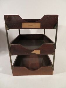 3 Tiered Desk Tray Wood In Out Paper Letter Box Globe Wernicke Art Deco Office