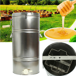 Two 2 Frame Stainless Steel Bee Honey Extractor Ss Honeycomb Drum Beekeeping Us