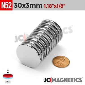 30 Mm X 3 Mm N52 Super Strong Disc Rare Earth Neodymium Magnets 1 3 16in X1 8in