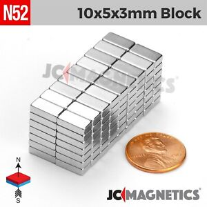 10mm X 5mm X 3mm N52 Small Strong Rare Earth Neodymium Craft Fridge Magnet Block