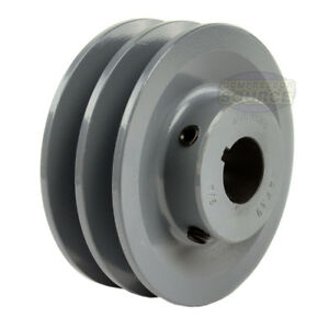 3 75 Cast Iron 7 8 Shaft Pulley Sheave Single 2 Groove V Style A Belt 4l New