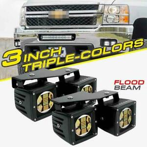For Chevy Silverado 3500 3 Cree Led Fog Lamp Light Pods Mount W Wiring Harness