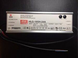Hlg 185h 24a Mean Well Adj Power Supply Ac dc Output 24vdc 7 8a New