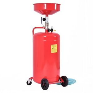 20 Gallon Waste Oil Drain Capacity Tank Air Operate Drainer Wheel Hose Red Us