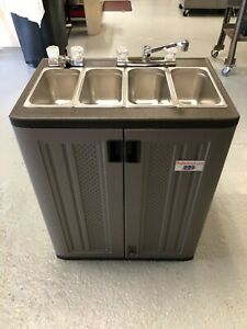 Portable Food Truck Trailer Concession Sink Hand Wash 3 Compartment Hot Water