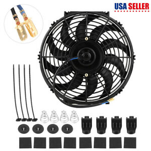 12v Push Car Radiator Engine Cooling Fan Mounting Kit 12 Inch Universal Us