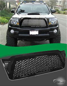2005 2011 Toyota Tacoma Front Mesh Grille Gloss Black Dragon Style Grille