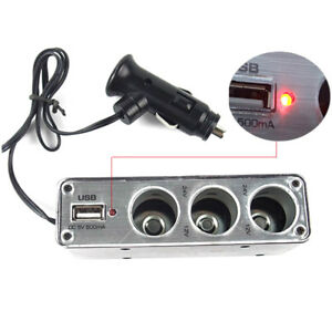 Auto 3 Way Car Multi Socket Cigarette Lighter Splitter Usb Plug Adapter Charger