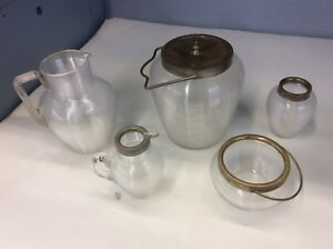 Vintage Antique Clear Glass Pitcher Cream Sugar Biscuit Jar Ice Bucket Vase