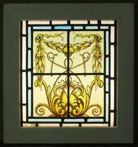 Old English Leaded Stained Glass Window Handpainted Panel W Border 14 X 15