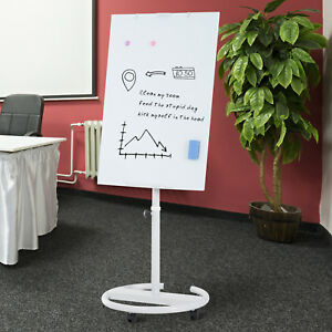 28 x40 Easel Magnetic White Board Rolling Flipchart Tempered Glass Dry Erase