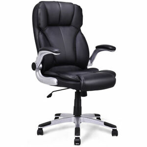 High Back Executive Office Chair Pu Leather Swivel Desk Task Computer Black