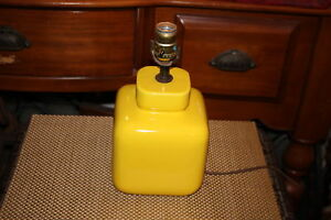 Vintage Mid Century Modern Canary Yellow Square Body Table Lamp 1 Porcelain