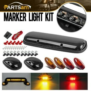 Smoked Cab Roof Top Amber Led Lights W Red Amber Side Marker For 02 06 Chevy Gmc