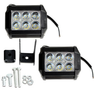 2pc 18w Cree Led Work Lights Pods Spot Offroad Lamp For Atv Jeep Ute 4 Cube