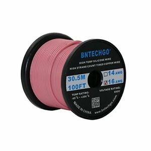 Bntechgo 16 Gauge Silicone Wire Spool Pink 100 Feet Ultra Flexible High Temp 200