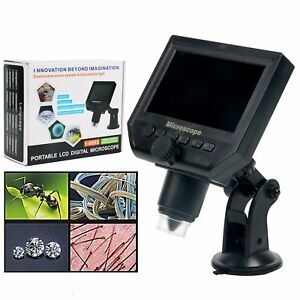 1 600x Portable 4 3 Lcd Usb Digital Microscope Led Light 3 6mp 1080p Dispaly Us