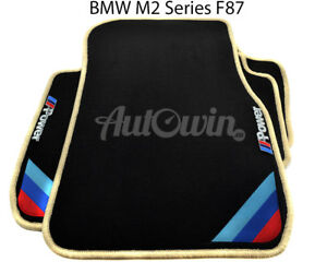 Bmw M2 Series F87 Black Floor Mats Beige Rounds With m Power Emblem Clips