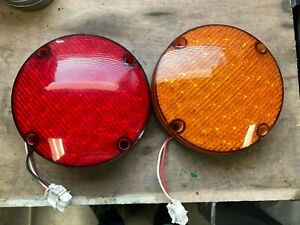 Lot 2 Red And Amber 7 Round Led School Bus Warning Signal Lights And Stop