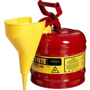 Justrite 7120110 2 Gal 9 50 Odx13 75 H Steel Type I Red Safety Can W Funnel