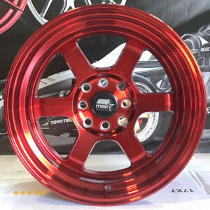 Mst Wheels Time Attack Rims 15x8 0 Red 4x100 Hellaflush 94 01 Acura Integra Gsr