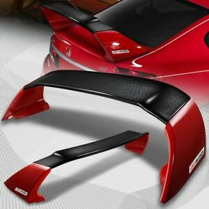 For 2012 2015 Honda Civic 4dr Mugen Carbon Fiber Factory Red Rear Spoiler Wing
