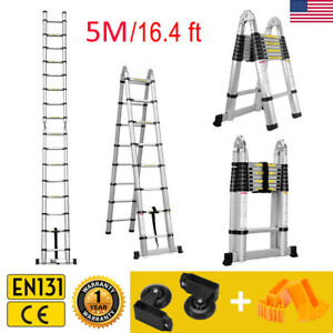 16 4ft Aluminum Multi purpose Telescopic Ladder Extension Foldable Steps En131