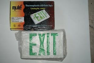 Green White Led Exit Sign Slim Low Profile With Battery Backup Mule