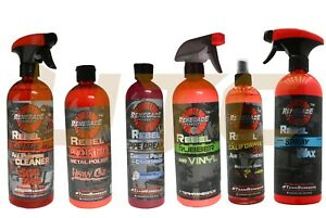 Rebel Liquid Detailing Diy Rubber Vinyl Cleaner Spray Wax Chrome Polish 6 Pcs