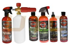6 Pcs Rebel Wash Wax Kit Chrome Restore Polish Leather Spray Odor Neutralizer