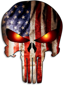 Punisher Skull With American Flag Car Truck Laptop Graphic Sticker