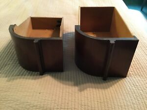 Vintage 2 Large Curved Wooden Sewing Machine Cabinet Drawers Retro Mcm Unusual